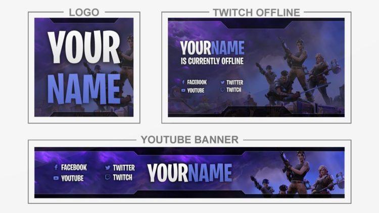 Fortnite Youtube Banner Logo Twitch Offline Templates